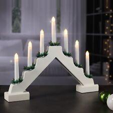 Beleuchteter Lichterbogen aus Holz mit 7 warm-weißen LEDs batteriebetrieben Xmas