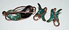 VTG MATISSE RENOIR Signed Large Green Enamel Theatrical Mask Brooch Earring Set