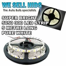 1x PURE WHITE  5M 5050 SMD 300LED Strip Car House Under Counter Roll Stick on UK