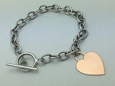 """New 14K White Gold 7.5"""" Rolo Link Chain with Rose Gold Heart Charm Bracelet 6.8g"""