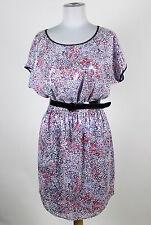 DKNYC white black lavender pink print short sleeve belted waist sequin dress S