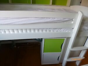 Cabin Bed Frame Single White with Desk,  2 Cupboards/drawers and shelf