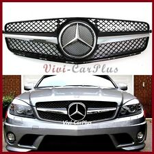 2008-11 M-Benz W204 C200 C300 C350 1 Fin Front Grille SL Look Gloss Black Chrome