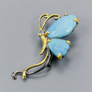 Turquoise Brooch Silver 925 Sterling Handmade /NB08507