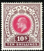 South Africa Natal 1902 rose/chocolate 10/- crown CC mint SG141