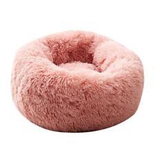 Round Cat Warm Sleeping Bed Portable Soft Plush Pet Nest (Light Pink XS) SN9F