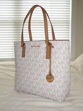 cf9d88eb67403b NWT Michael Kors MORGAN Medium Tote Bag MK Sig Logo PVC Vanilla 38H6GOGT2B