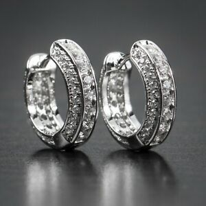 White Gold Sterling Silver Fully Iced 5A Cz Small Huggie Hoop Earrings For Men