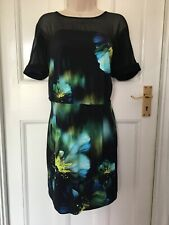 Coast Dress Floral Print With Mesh Top Size 18
