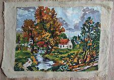 Vintage Royal Paris New England Autumn Setting Needlepoint Canvas Tapestry