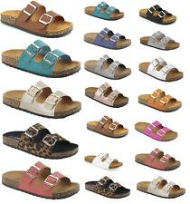New Womens Double Strap Cork Sole Sandals Double Buckle Open Toe Flip Flop Shoes