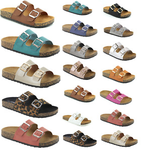 New Womens Double Strap Cork Sole Sandals Double Buckle Open Toe Flip Flop Shoes
