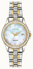 CITIZEN Ladies Watch MOP Dial Two Tone Crystal Set Case EW1844-50Y  28MM New