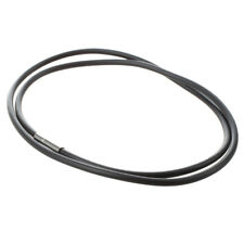 3mm Black Rubber Cord Necklace with Stainless Steel Closure - 24 Inch SS