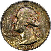 1948-S 25C PCGS MS66 WASHINGTON QUARTER ~ ORIGINAL IRIDESCENT SPECKLES!