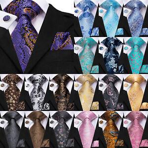 Mens Floral Tie Blue Red Silk Wedding Necktie Set Black Pink Paisley Woven Ties