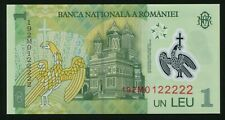 LUCKY serial 192M0122222 POLYMER NOTE 1 LEU 2018 (2019) ROMANIA UNC