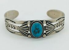 Blue Turquoise Ornate Cuff Bracelet Navajo Native American Sterling Silver