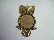 5 ANTIQUE GOLD ROUND OWL BEZEL PENDANT TRAY CAMEO CABOCHON SETTINGS 25MM BLANKS