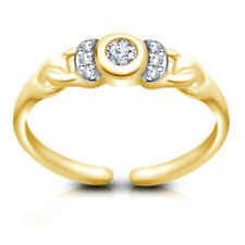 White Diamond Solitaire Adjustable Toe Ring 14k Yellow Gold Over /925 Round Cut