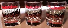 New listing Budweiser Clydesdales Holiday Rocks Glasses 1989 Collectible. Set of 3