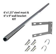 "6' ft mast 1.25"" pole TV aerial mounting radio and 6""x9"" wall bracket fixing KIT"