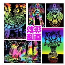 10 Sheets 16K Colorful Magic Scratch Art Painting Paper With Drawing Stick JP