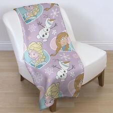 Disney Elsa Crystal Frozen Anna Olaf Purple Pink Love Heart Fleece Blanket Throw