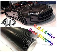4D Carbon Fiber BLACK Vinyl 10Ft x 5Ft Vehicle Wrapping Sticker Sheet AIR FREE