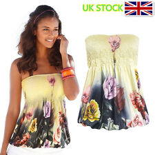 UK Women Floral Print Tops Bandeau Tank Strapless T-Shirt Casual Vest Blouse Tee