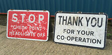 Genuine British Army Military Police Northern Ireland era 3'x2' Check Point Sign