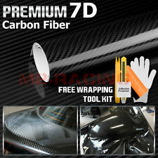 "*60""x120"" 7D High Gloss Black Carbon Fiber Vinyl Wrap Bubble Free Air Release 6D"