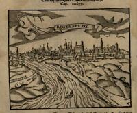 Regensburg Germany prospect 1598 Munster Cosmography wood cut print city view