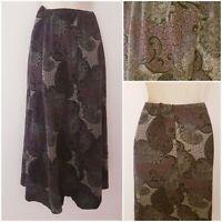 Vintage 70s Purple Black Boho Paisley Hippie Gypsy Midi Skirt 22-24 Elasticated