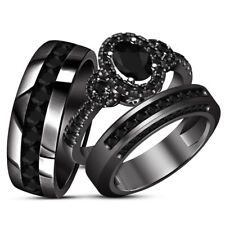 1.85 Ct Oval Cut Diamond Trio Set Engagement Ring 14K Black Gold Fn Wedding Band