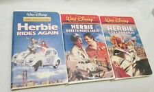 3 VHS tapes Herbie Rides Again. Monte Carlo. Goes Bananas White Clam Shell cases