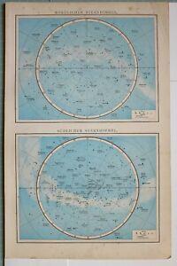 1881 MAPASTRONOMY CONSTELLATIONS NORTHERN & SOUTHERN HEMISPHERES STARS