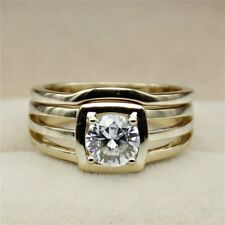 Bridal Ring Set 14k Yellow Gold Gp Solitaire 6.5 Mm Round Cut Moissanite Wedding