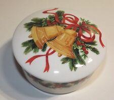"MIKASA BOWL HOLIDAY BELLS 5"" CHRISTMAS WHITE TRINKET  BOX  HK502/ 683 BERRIES"