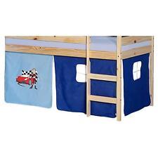 Rideaux cabane pour lit surélevé mi-hauteur tissu coton motif auto bleu