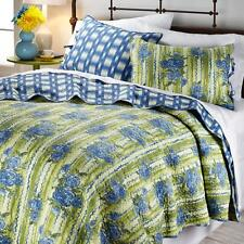 Madcap Cottage Bed of Roses 3-piece Reversible Quilt Set Green Blue Twin