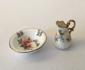 Dolls House Bone China Jug And Bowl Set By 'Mack'