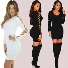 Womens Sexy Long Sleeve Casual Bandage Party Clubwear Pencil Mini Dress Bodycon