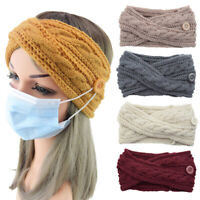 Women Solid Color Button Elastic Hair Bands Twist Cross Woolen Knitted Headband