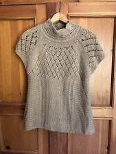 Sparrow Open Weave Short Sleeve Mock Neck Sweater Brown Sz L Wool/Cashmere