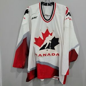 Vintage Bauer Team Canada Olympics White Hockey Jersey Mens L Sewn