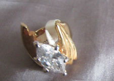 COCKTAIL RING BEAUTIFUL DESIGNED MARQUISE WHITE STONE GOLDTONE SCULPTURED Size 7