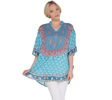 Tolani Collection Mandarin Collar Printed Woven Caftan Tunic, Turquoise,Size S
