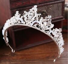 Women Silver Rhinestone Crystal Bride Party Hair Princess Headband Crown Tiara