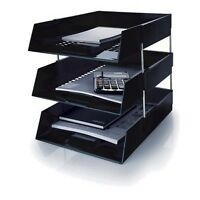 A4 Black Letter Trays With Risers Complete Set Paper Storage Filing